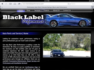 Black Label Performance - A preview of our website's homepage...