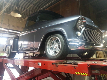 CSE Automotive - Nice! 1955 Chevy pick-up getting custom alignment,  also re-worked the exhaust system.
