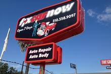 FixCarNow West LA - Drive by at night and see our red neon sign.