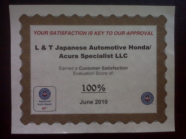 L&T Japanese Automotive Honda/Acura Specialists - We have earned a 100% customer satisfaction through AAA's Auto Approved Facility Survey.