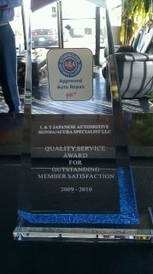 L&T Japanese Automotive Honda/Acura Specialists - Our 2009-2010 AAA Award for for Outstanding Member Services.