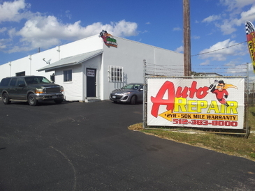 Amazing Auto Repair & Transmission - Pulling into our shop. Look for the Amazing Super Hero!