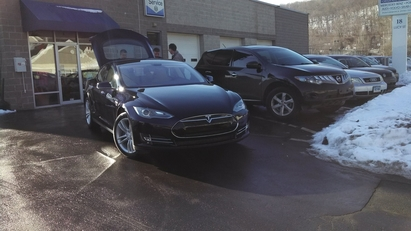 JP Motors LLC - John Stiber and Shawn Slater looking at a 2014 Tesla Model P S85