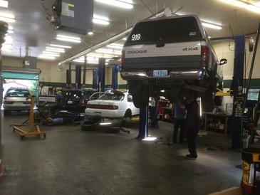 Automotive City - Four repair bays inside the shop.