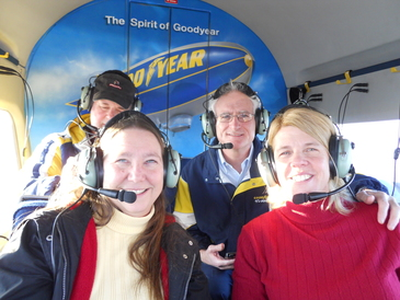 Nordonia Tire and Service - Mike and Coreen taking a ride on the Goodyear Blimp.  What a fun time, was like floating in the air. We went up to Akron, passed over Firestone country club. Was cool to see the course from the air.