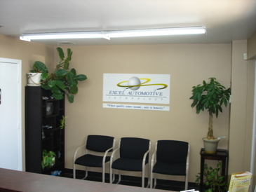 Excel Automotive Technology - Our convenient waiting room where you can wait for your vehicle, get a fresh cup of coffee, or get a ride back home or to work.