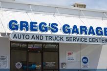 Greg's Garage - West Entrance of lighted parking area