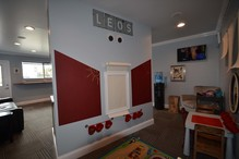 """Leo & Son Garage Inc - New Kids play area inside """"Leo's Lounge"""".  Coloring, legos, games, puzzles, dedicated TV"""