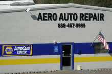 Aero Auto Repair - West of I-15 on the northwest corner of Aero Dr. & Ruffin Rd. CLEAN, comfy lounge & restrooms with baby change station. WiFi w/chargers. Tobacco Free Workplace!