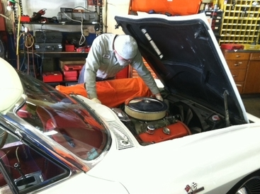 R & D Motorsports - Mathias working on vintage American.