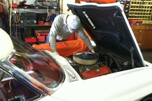 R & D Motorsports - Mathias working on vintage American.