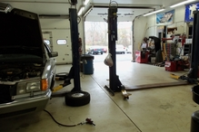 Country Auto Care & Tire Center - View from inside of tire mounting bay.