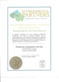 Preferred Automotive - EPA Certificate of Compliance for Montgomery County. We recycle:Coolant, Oil ect... and in the Winter We head the shop and warehouse with waste oil and other petroleum.