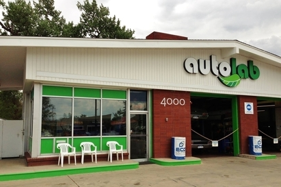 Autolab - The store front as seen from Broadway and Nassau.