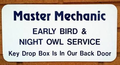 Master Mechanic Diagnostics & Repair - Our convenient key drop is located at our back door