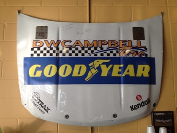 D.W. Campbell Goodyear - The hood from our NASCAR Nationwide series race car.