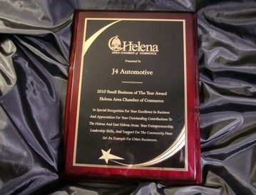 "J4 Automotive - J4 Automotive recieved the Helena Area Chamber of Commerce ""Small Business of the Year"" Award"