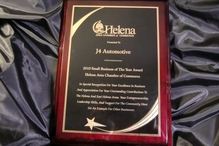 """J4 Automotive - J4 Automotive recieved the Helena Area Chamber of Commerce """"Small Business of the Year"""" Award"""