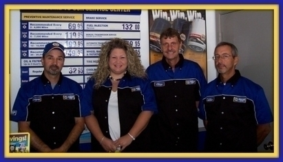 Gunter Automotive Inc - L-R Owner Wayne Gunter, Service Manager Michelle Greeson, Owner Chip Kee, Certified Technician Eddie Sims