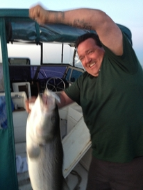 Zaloom's Auto Repair - Billy with a 25 lb Striper, I got skunked that night